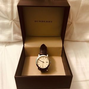 Burberry Men's brown leather band watch